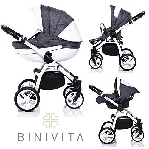 Binivita® Isabel White Collection Kinderwagen Kombikinderwagen Kombi 3 in 1 + Babyschale + Buggy-Kinderbuggy-Sportwagen + Babywagen 14-Teile Set inkl. Kinderwagentasche - Grey-Isabel