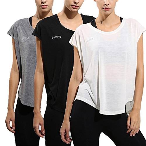 wenyujh Damen Sport T Shirt Kurzarm Sommer Bluse Lässig Fitness Loose Fit (Schwarz+Weiß+Grau, M)