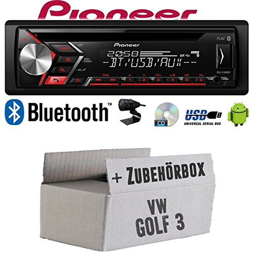 Autoradio Radio Pioneer DEH-S3000BT - Bluetooth | CD | MP3 | USB | Android Einbauzubehör - Einbauset für VW Golf 3 III - JUST SOUND best choice for caraudio