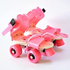 FunBlast Adjustable Quad Roller Skates for Kids (Pink)