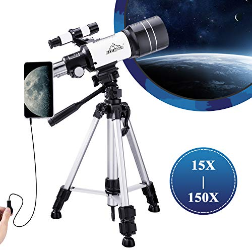 MAXLAPTER Teleskop Astronomie Monokular für Kinder Einsteiger 300-70mm mit Sucherfernrohr Stativ & 2 Okular, Bonus mit Telefon-Adapter Drahtverschluss für Sterne beobachten & Vogelbeobachtung