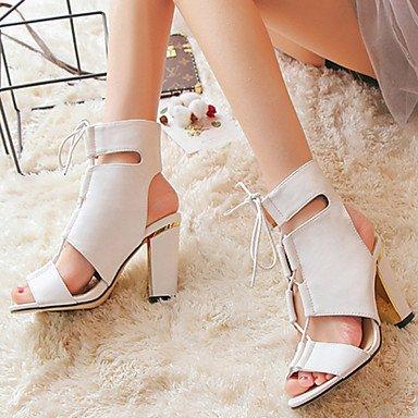 LvYuan Da donna-Sandali-Formale-Cinturino alla caviglia-Quadrato-PU (Poliuretano)-Nero Bianco White