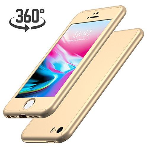 Luckydeer iPhone SE Hülle mit [1x Panzerglas Schutzfolie], Hochwertigem Handyhülle [360 Grad Komplett Schutz], iPhone 5s Hülle Gold [Ultra Dünn] Schale Cover Case Hülle für iPhone 5 (Gold 4,0 Zoll)