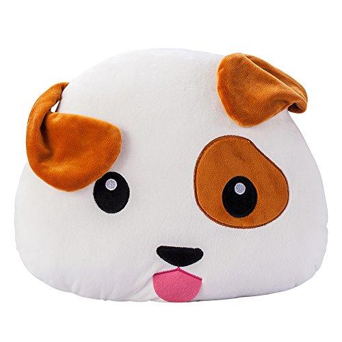 Puppy Emoji Perro Soft Stuffed Plush Cushion Pillow - 38x32x10cm Grande Suave Emoticono Cojín Almohada de Peluche Felpa Almohadilla - Regalo Para Niños Niñas
