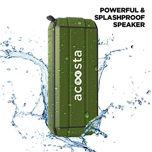 ACOOSTA BOLD 370, IPX5 Waterproof, Portable Wireless Bluetooth Speaker with Bass, 3600 mAh Battery (Upto 24hrs of Playback), True Wireless Stereo, Built in Mic, SD Card & Aux (Military Green)