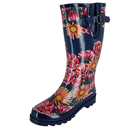 Blazin Roxx Damen Regenstiefel Laiken Blumendruck rund Zehen Gr. 7, Denim