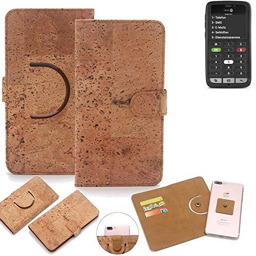 K-S-Trade Schutz Hülle für Doro 8031C Handyhülle Kork Handy Tasche Korkhülle Schutzhülle Handytasche Wallet Case Walletcase Flip Cover Smartphone