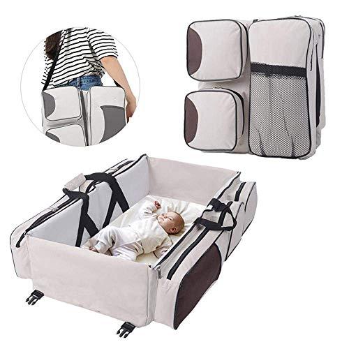 Multifunktionale 3-in-1-Babywindeltasche für Reisen, Stubenwagen, Windelbett, tragbar, faltbar, Einkaufstasche, Wickeltisch, Babybett, Tragetasche für 0-12 Monate, weiß - Wickeltische Babybetten Und