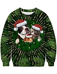Pull Moche Noël Homme Imprimé Créatif Drôle Chien Unisexe Femme Sweat-Shirt Col Rond Pull Noël Moche Homme Manches Longues Décontracté Sportif Sweat Shirt Blouse Top