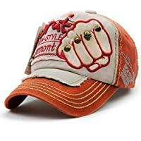 TJBGADIEMS Pure cotton Personality Vintage Embroidered Snapback Baseball Hat Patch Visor Trucker Cap(Fist, Red & Beige)