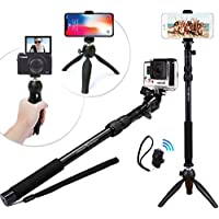 NEW HD RUGGED Selfie Stick & Tripod 3-in-1 Universal Kit for New iPhone X 8 7 6 6S Plus, GoPro Hero, Samsung S8 or Camera | Bluetooth Remote Included | Best Portable Stand