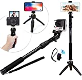Selfie Stick Stange 30-90cm & Tripod Stativ, 3in1 HD Foto/Video/Vlog Kit | iPhone 7/Plus, GoPro, Samsung oder Kamera + GRATIS Bluetooth Fernbedienung/Fernauslöser | Wasserdichtes Selfie Equipment für Handys/Smartphones (iPhone 7+/6+/6S/5/5S/C/4, Xiaomi, Hero5 Black/4/3 etc.)