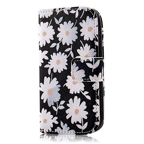 PhoneCase Gänseblümchen Blume Muster Bottom Series PU Leder Wallet Schutzhülle mit Display Schutzfolie für Samsung Galaxy S3 mini inkl. Stylus Stift weiß/schwarz (Samsung S3 Mini Handy-fällen)