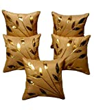 #3: FabLooms Golden Leaves Cushion Covers - Set of 5 (40.64 x 40.64 CM)