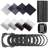BPS 23 pièces Kit de Filtres ND Carrés Pour Cokin P Série Series-- filtre à densité neutre ( ND2 ND4 ND8 ND16 )+filtres ND progressifs ( G.ND2 G.ND4 G.ND8 G.ND16 )+9* anneau adaptateur + porte-filtre + parasoleils +sac de filtre +3 pièces Kit de nettoyage d'objectif pour lentilles