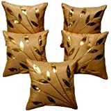 FabLooms Golden Leaves Cushion Covers - Set of 5 (40.64 x 40.64 CM)