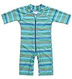 Charmleaks Baby - Einteiler Gestreifter Badeanzug für Säugling Kinder Kurzarm UV-Schutz 50+ Grün 3-6 Monate