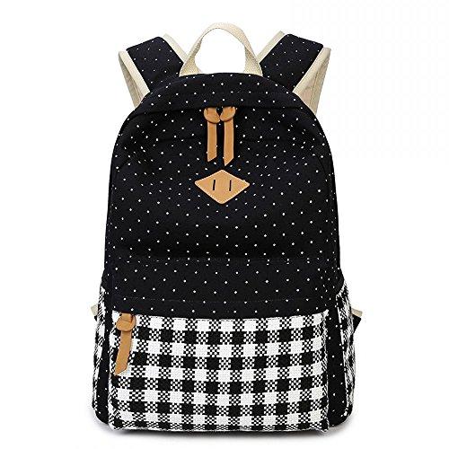 Ambielly beiläufige Art-Leinwand-Laptop-Rucksack Art und Weise nette Reise Schule College-Umhängetasche Bookbags Daypack für Damen Mädchen (Schwarz-1)