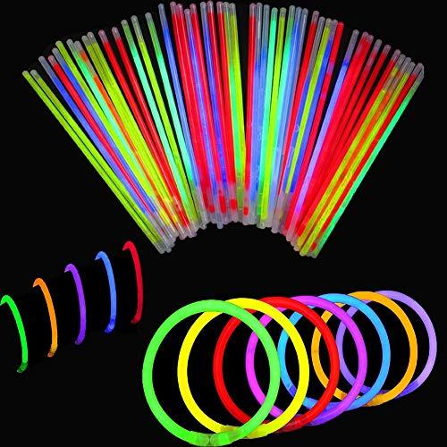 BBM [Solamente 100 Varitas Luminosas y 100 Conectores Reutilizables] Varitas Luminosas Fluorescentes Pulseras Luminosas Para Fiestas Formar Pulseras