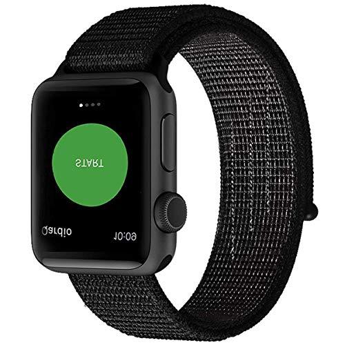 Naomo Kompatibel mit Watch Armband 42mm/44mm, Weiches Nylon Ersatz Uhrenarmband Ersatz für Watch Series 4, Series 3, Series 2, Series 1 (42mm/44mm, Reflektierend Schwarz)