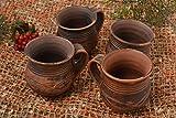Handmade Ton Tassen Keramik Geschirr Küchen Zubehör originelle Geschenke 4 Stück