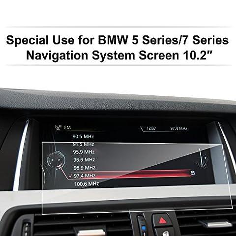 BMW Accessoires,LFOTPP Film Protection pour BMW 5er /5er GT M5 Touring (2010-2016) / BMW 7er (2009-2015) 10.2 Pouces Navigation Protection d'écran Film Tableau de Bord de Voiture en Verre Trempé -Imperméable à l'eau,Incassable,Inrayable,Anti Traces de Doigts,Anti-bulles,Vitre Haute Définition Dureté 9H