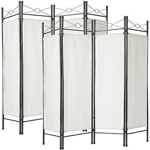 TecTake Biombos diseño 4-panel tela divisor habitación separador separación biombo 180x160cm - disponible en diferentes colores y varias cantidades - (2x Blanco | no. 401830)