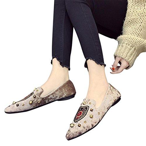 KESEELY Modisches Damen Stift Flache Schuhe, Sommer Damen-Wohnungen Buchstabe B Stickerei Wildleder Schuhe Einschubtasche Casual Schuhe, US:5.5, Khaki
