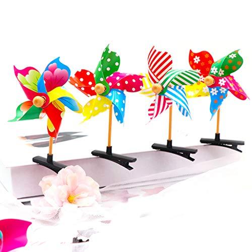 r Mädchen, niedliche 3D-Windmühle, Mini-Seiten-Haarspange, bunt, Regenbogen-Entenschnabel, Kunststoff, süßes Geburtstag, Party, Geschenk, Haarspangen, zufällige Farbe ()