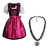 Dirndl Set 4 tlg. Trachtenkleid schwarz mit Stickerei in pink + Dirndlkette 44