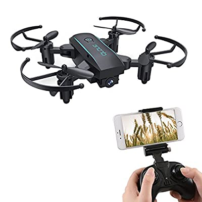 ESGOT 1601W RC Quadcopter with HD Camera 2.4GHz Foldable Mini Remote Control Drone for Beginner Black