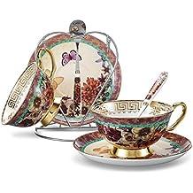 Panbado, Porcelana de Hueso 2 Juego de Taza de Té y Café, Pintura Mariposa
