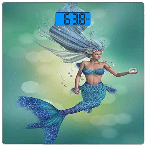 Digitale Präzisionswaage für das Körpergewicht Platz Meerjungfrau-Dekor Ultra dünne ausgeglichenes Glas-Badezimmerwaage-genaue Gewichts-Maße,Meerjungfrau Oberkörper einer Frau und der Schwanz eines Fi