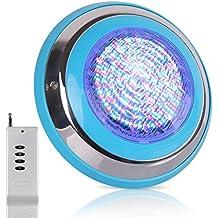 Roleadro 54W Luz de Piscina con Control Remoto,IP68 Sumergible Led para Piscinas Multicolor Luz RGB 290 * 290 * 70mm AC 12V ( Wall Mounted )