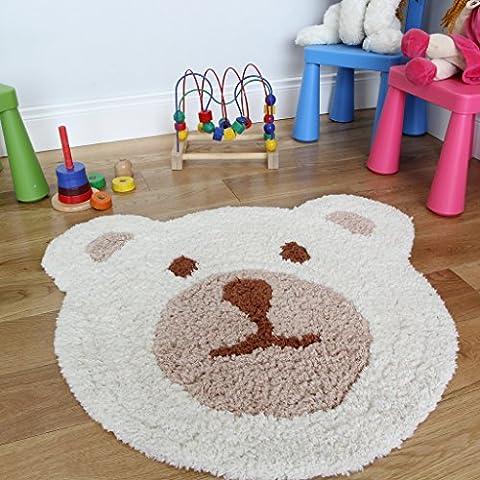 Kinder Teddybär Cremefarben und Beige Dick Superweich Baby Kinderzimmer Teppich - 75 x 80 cm
