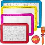 Haquno 4 Stück Silikon Backmatten, Macarons Backmatte. rutschfeste, Wiederverwendbare, hitzebeständige Antihaftbeschichtung, BPA-freies, langlebiges wiederverwendbares Backpapier für Jede Familie.