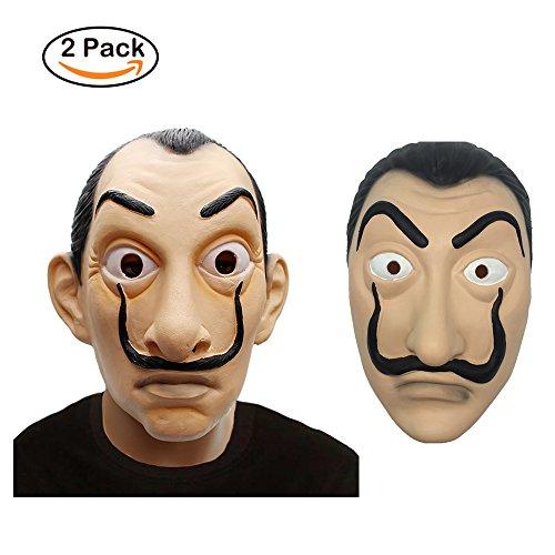 i Maske Latex Maske Salvador Dali Latex Maske La Casa De Papel Wimperntusche Realistische Prop Gesichtsmaske Neuheit Cosplay Kostüm Party Maske (Neuheit Masken)