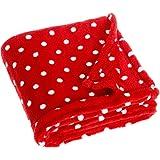 Playshoes Fleece deken voor baby en kinderen, veelzijdig bruikbaar knuffeldeken voor jongens en meisjes, 75 x 100 cm, gestippeld met stippen patroon 75x100 cm rood