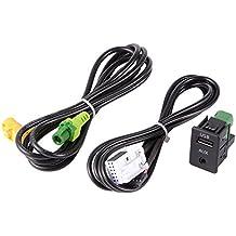 XCSOURCE® USB Interruptor + Aux Adaptador de cable de alambre de BMW Serie 3 5 E87 E90 E91 E92 X5 X6 AC516