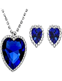6e845f526ea Sapphire Blue Heart of The Ocean Titanic Necklace Pendant with Chain  Austrian Crystal 18K White Gold