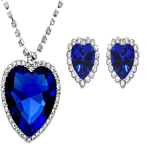 Caratcube Sapphire Blue Heart Of The Ocean Titanic Necklace Pendant Set With Earrings Austrian Crystal 18K White Gold Plated Romantic Love