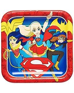 Amscan International-55160923cm DC Super Hero Niñas cuadrado placa de papel