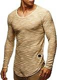 LEIF NELSON Herren Sweatshirt Hoodie Hoody T-Shirt LN6358; Größe M, Beige