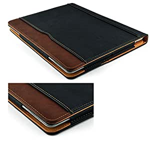 Cool Chameleon Black & Brown (Dual), Tan Soft Leather Wallet Smart Case Cover For New Ipad Air 5 With Sleep Wake & Credit Card Slots + Screen Protector
