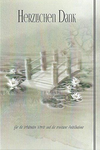 Trauer Danksagungskarten Trauerkarten ohne Innentext Motiv Teich Brücke 10 Klappkarten mit weißen Umschlägen Dankeskarten Dankeschön Karten Danke sagen (K/H33) (Dankeschön-karte-weiß)