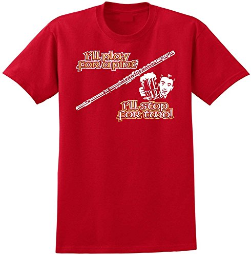 Flute Play For A Pint - Red Rot T Shirt Größe 87cm 36in Small MusicaliTee