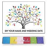 Arbol de huellas boda, Árbol de la lienzo huella dactilares digital Libro de visitas de encargo Libro de visitas del libro de firmas boda con la tinta