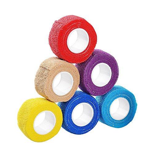 Haftbandage/Selbsthaftende Bandage/Feilschutz 2,5cm x 4,5m selbst sich Bandage, PET vet Wrap Verbände Tape, 6Stück (zufällige Farbe) (Pet-wrap)