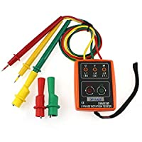3 Phase Rotation Tester 3 Phase Sequence Rotation Tester Indicator Detector Meter LED Buzzer with Portable Pouch TD-LED02 SM852B Frequency Range: 20Hz~400Hz
