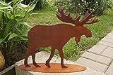Dekostüberl Edelrost Elch mit 3D Geweih 38x34cm Tierfigur Gartendekoration Metall Rost